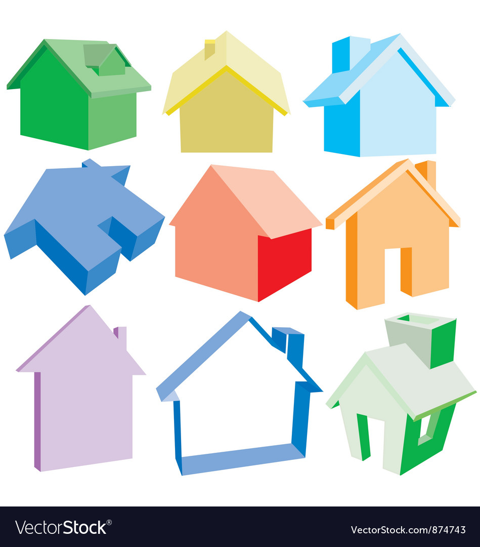 3 dimensional house icons vector | Price: 1 Credit (USD $1)