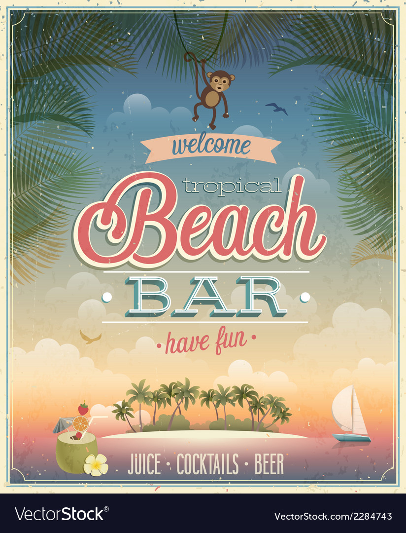 Beach bar ads flyer vector | Price: 1 Credit (USD $1)