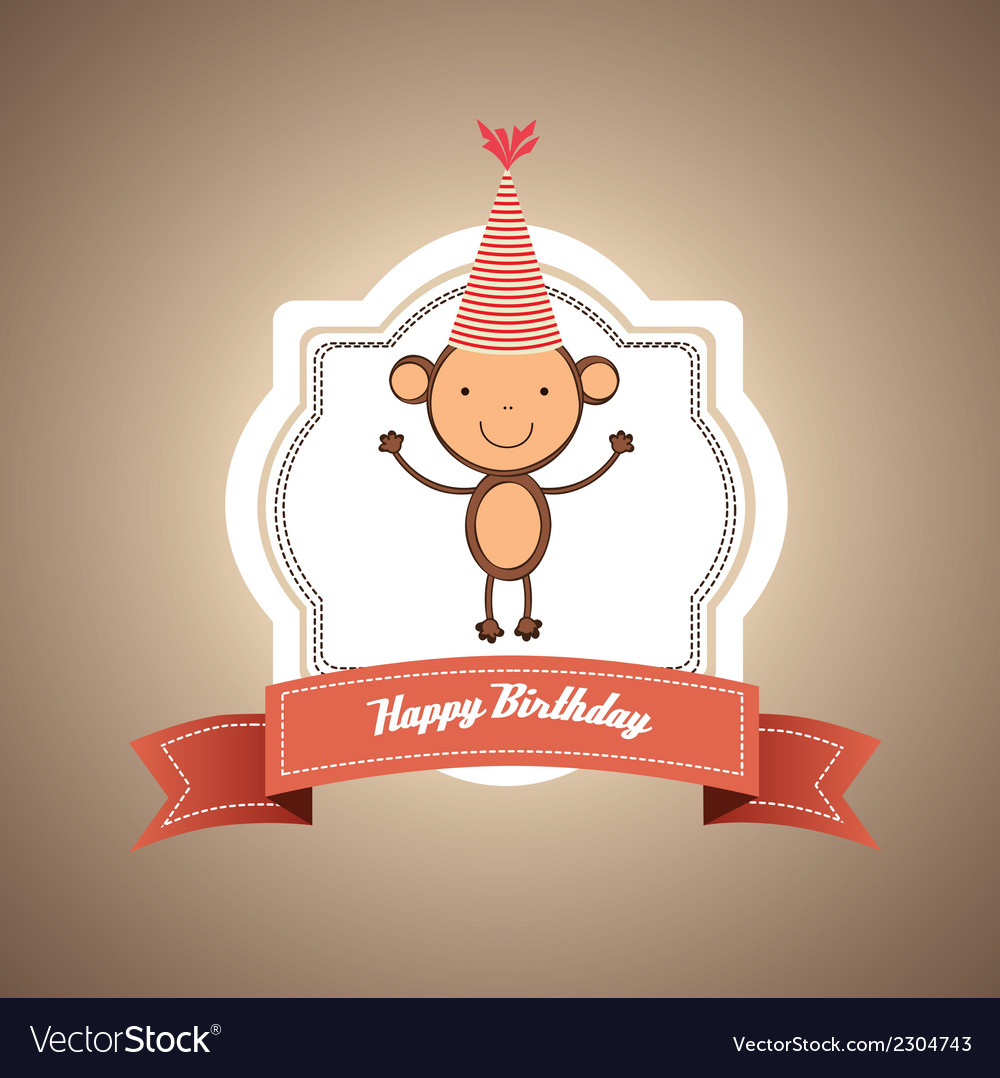 Birthday card with monkey vector | Price: 1 Credit (USD $1)