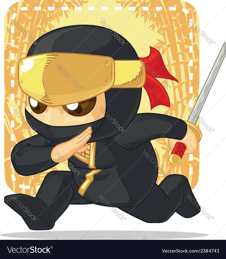 Cartoon of ninja holding japanese sword vector | Price: 1 Credit (USD $1)