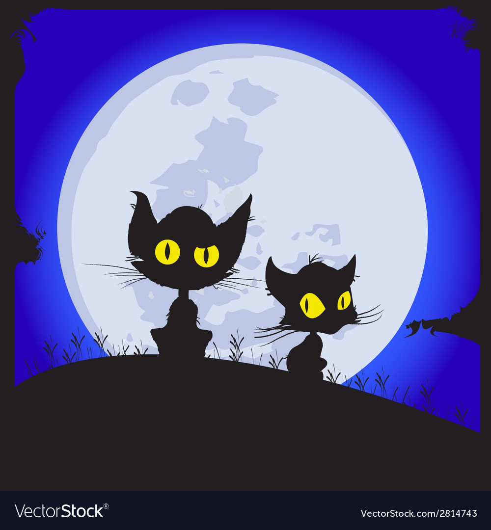 Cats sit on a glade behind the moon shines night vector | Price: 1 Credit (USD $1)