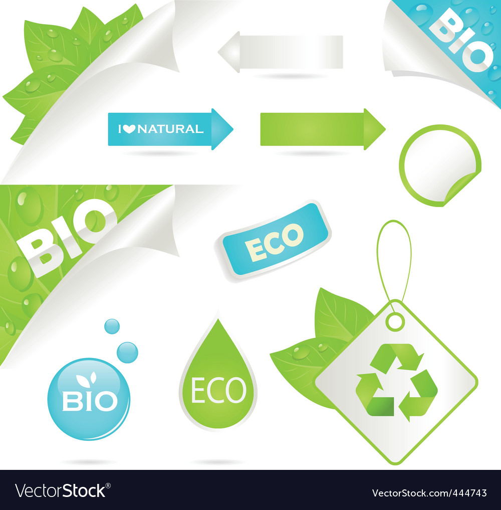 Ecology labels and bio icons vector | Price: 1 Credit (USD $1)