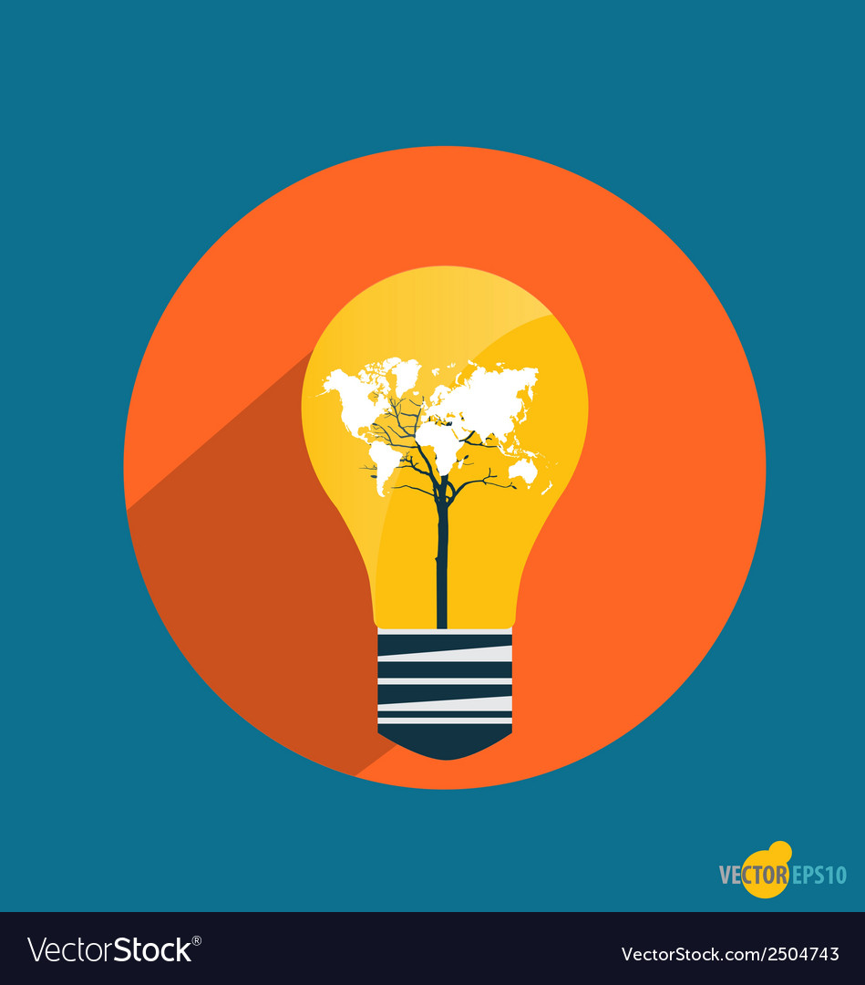 Electric light bulb with world map business vector | Price: 1 Credit (USD $1)