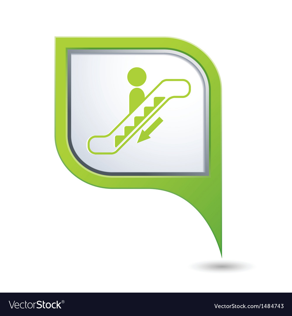 Escalator down icon on green map pointer vector | Price: 1 Credit (USD $1)