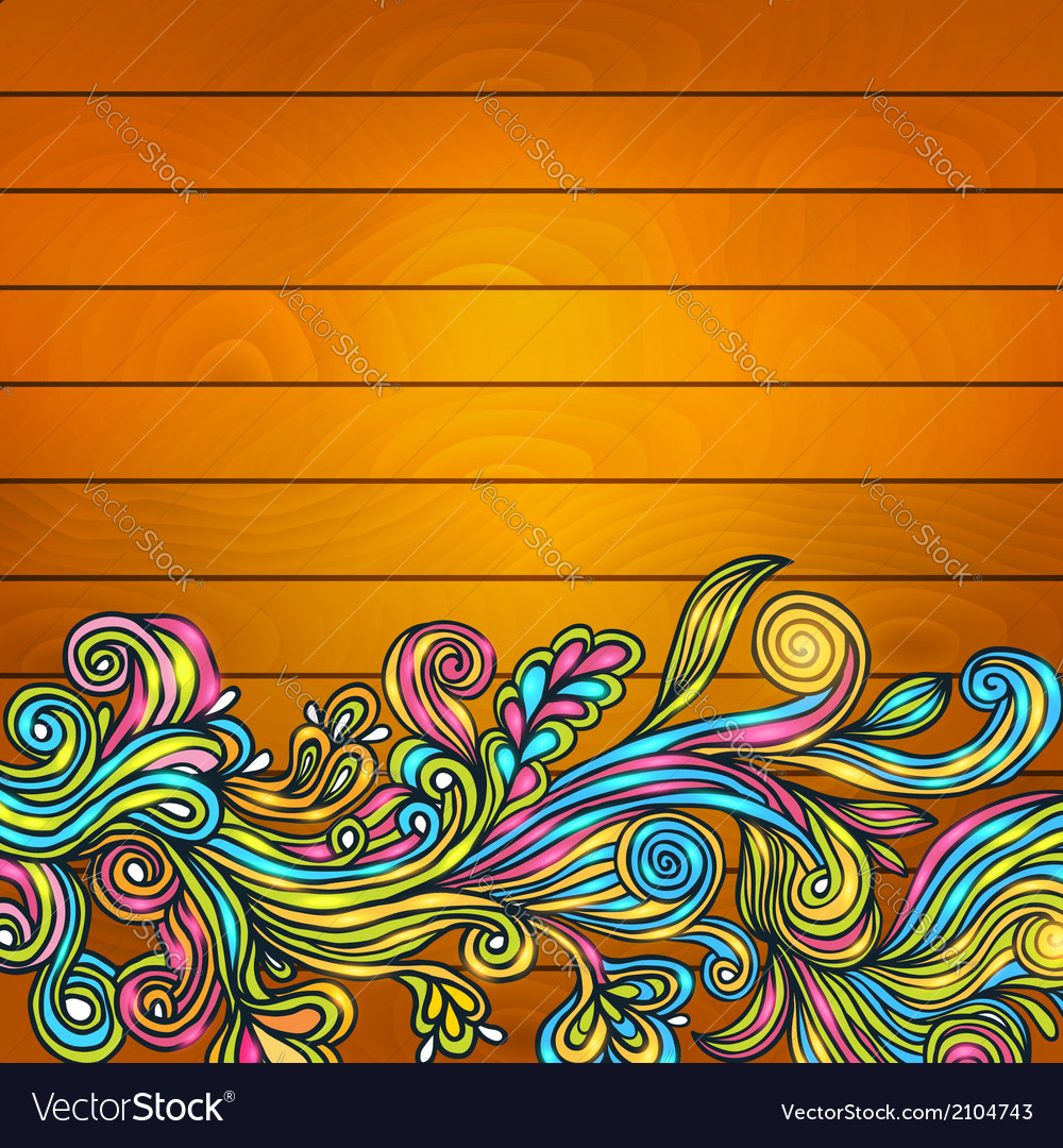 Floral doodle on wood background vector