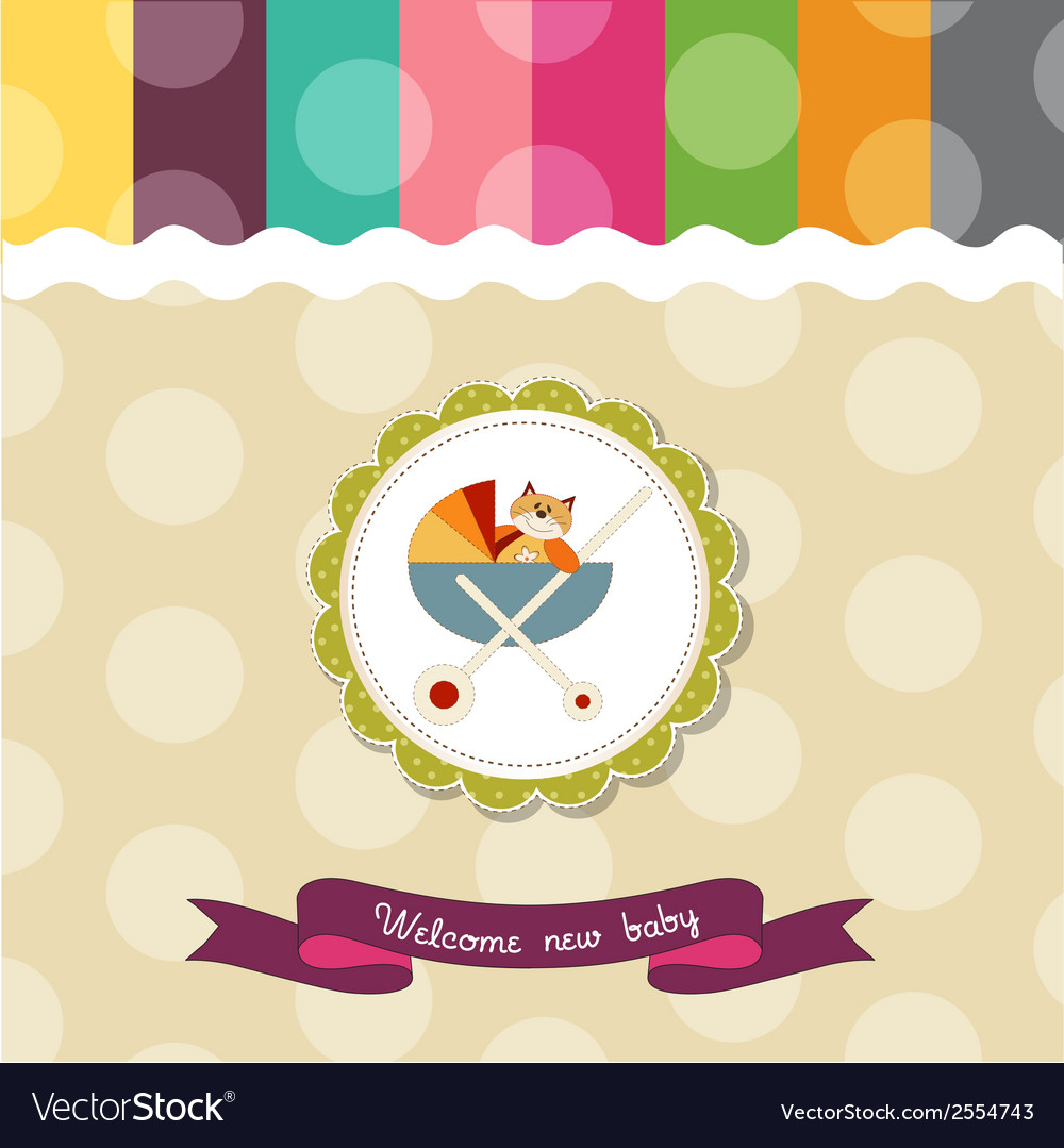 Funny baby shower card with pram and cat toy vector | Price: 1 Credit (USD $1)