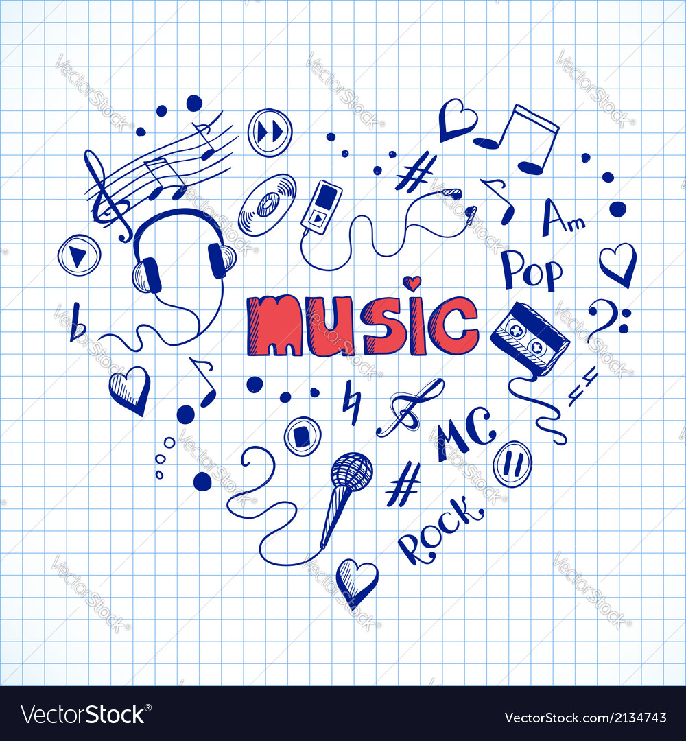 Heart shape made of music elements vector | Price: 1 Credit (USD $1)