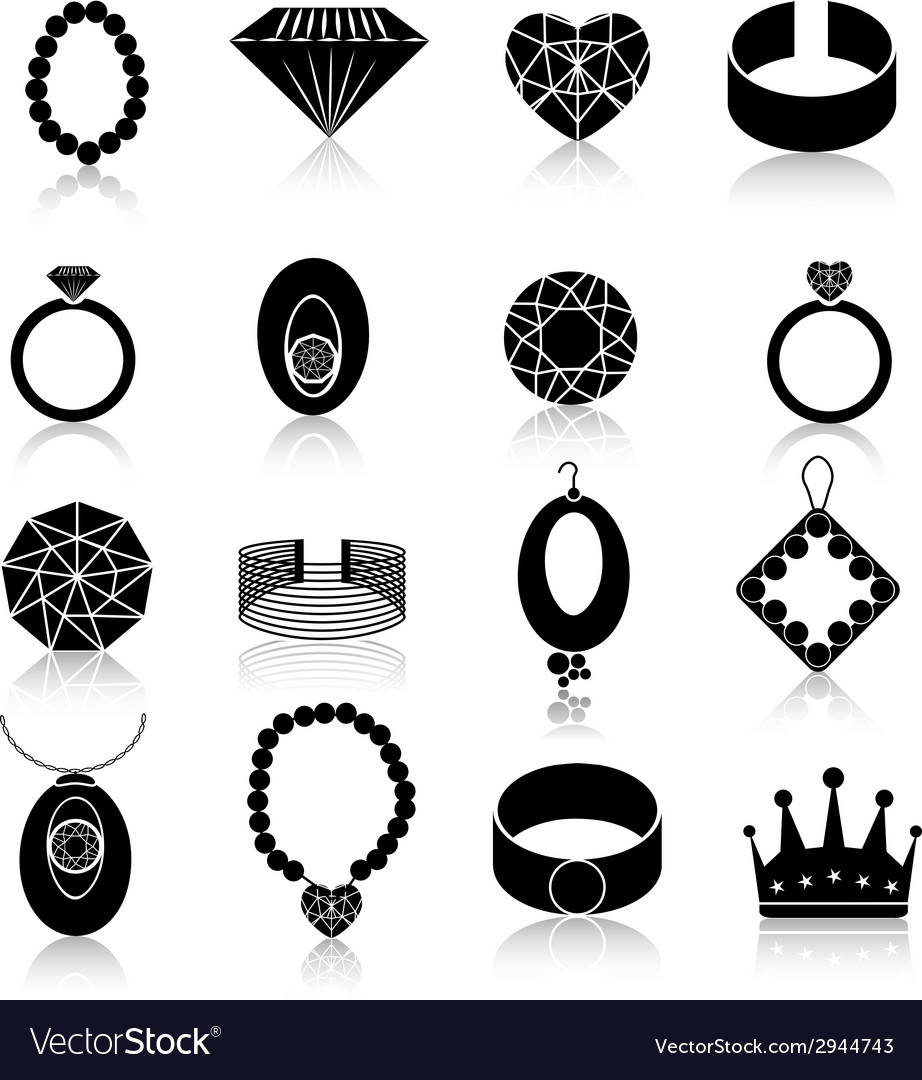 Jewelry icon set black vector | Price: 1 Credit (USD $1)