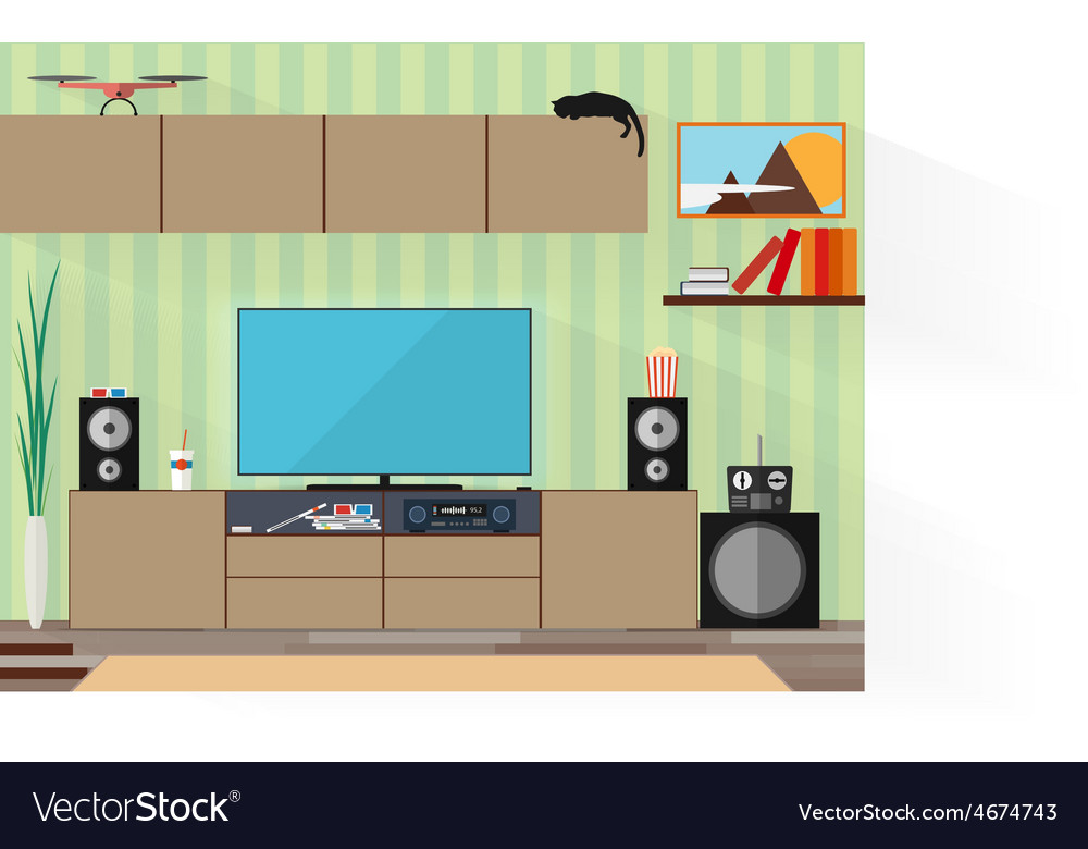 Living room with furniture and long shadows flat vector | Price: 3 Credit (USD $3)