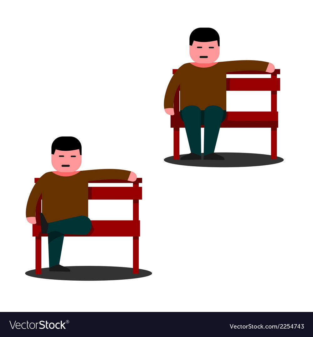 Man sitting on a park bench vector | Price: 1 Credit (USD $1)
