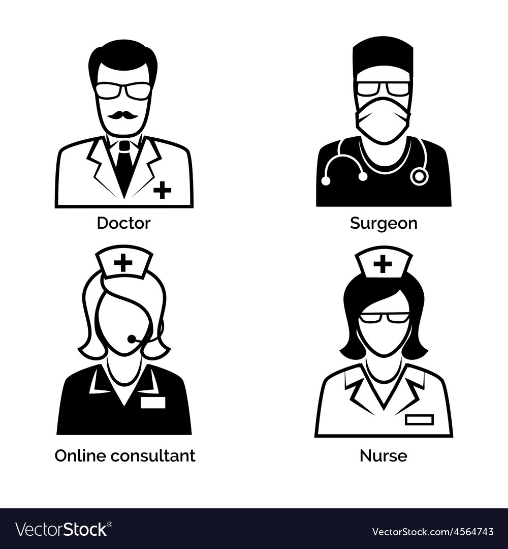 Medical staff icons doctor nurse surgeon and vector | Price: 1 Credit (USD $1)