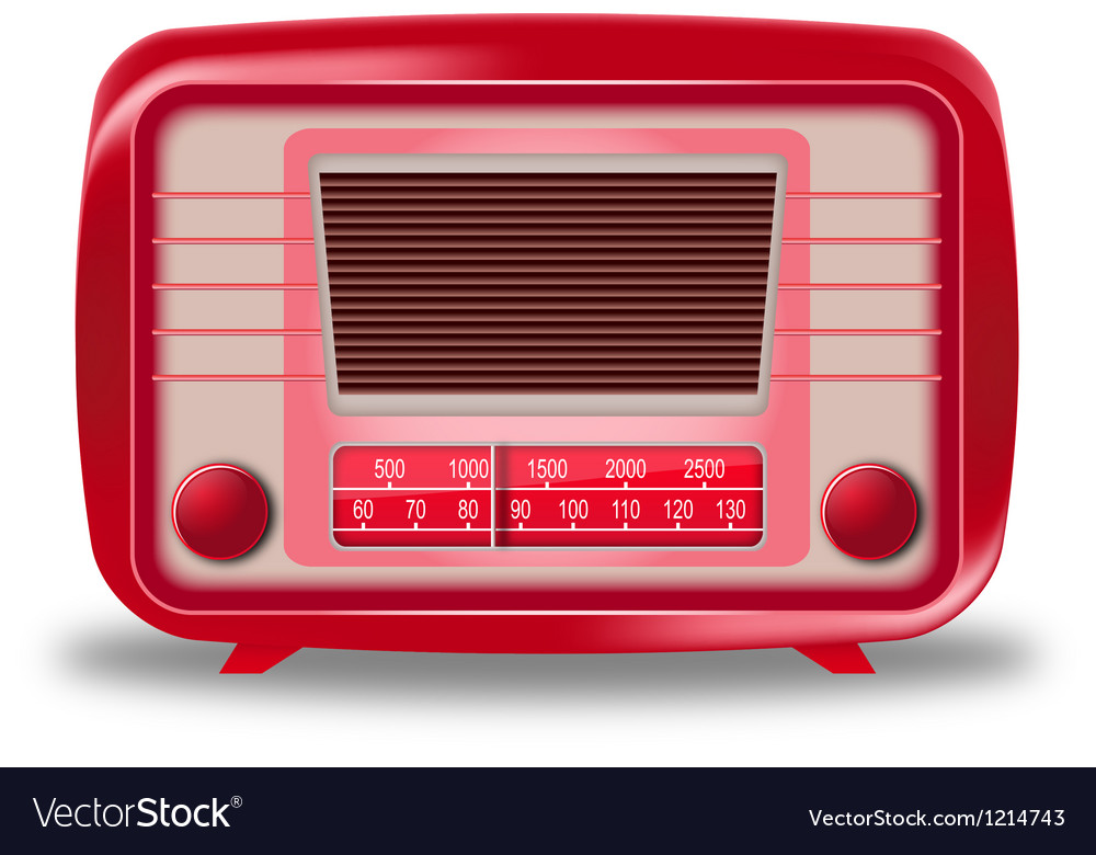 Old red radio on white background vector | Price: 3 Credit (USD $3)
