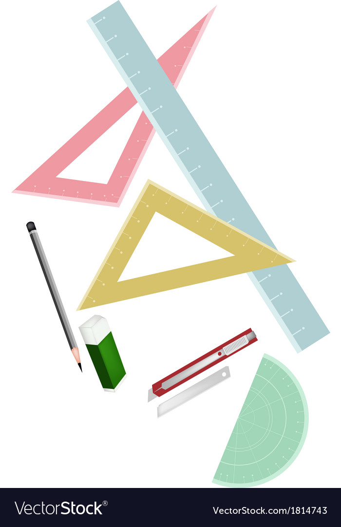 Rulers and protactor with pencil and eraser vector | Price: 1 Credit (USD $1)