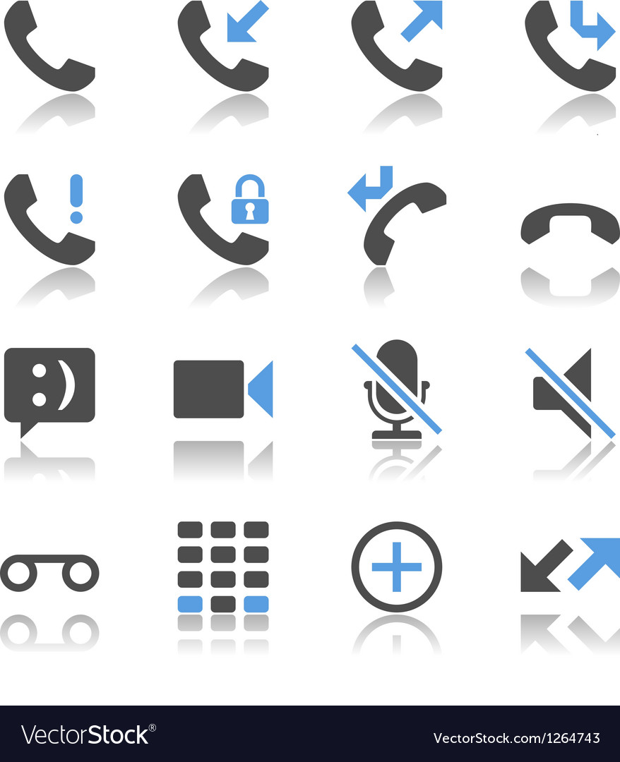 Telephone icons reflection vector | Price: 1 Credit (USD $1)