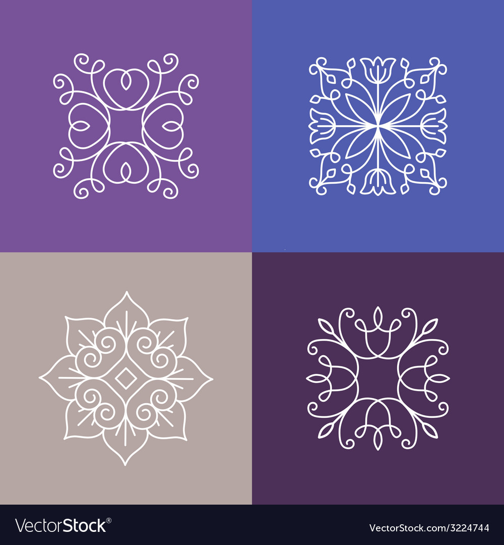 Abstract emblems - outline monograms vector | Price: 1 Credit (USD $1)