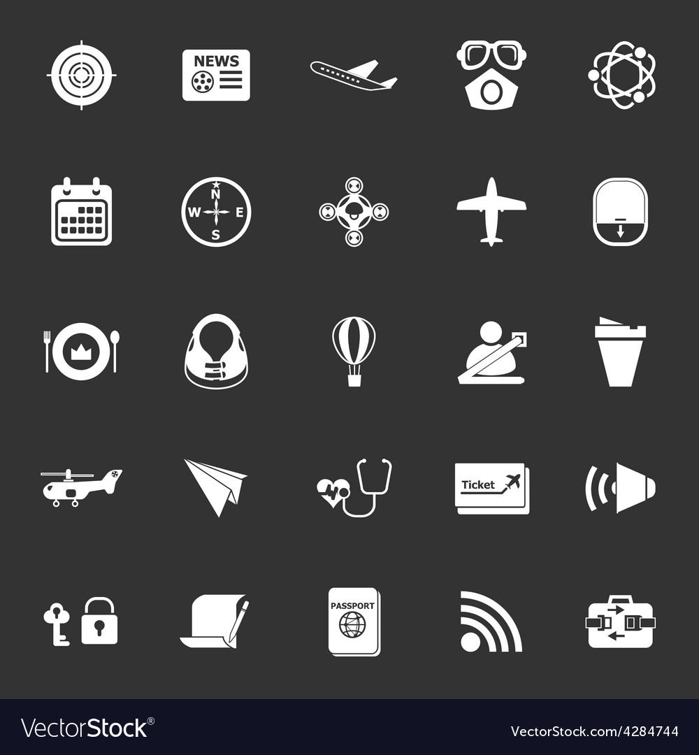 Air transport related icons on gray background vector | Price: 1 Credit (USD $1)