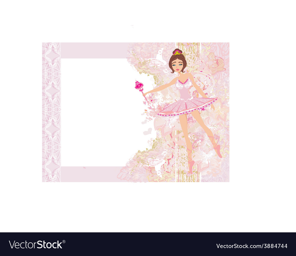 Beautiful ballerina - abstract card with flower vector | Price: 1 Credit (USD $1)