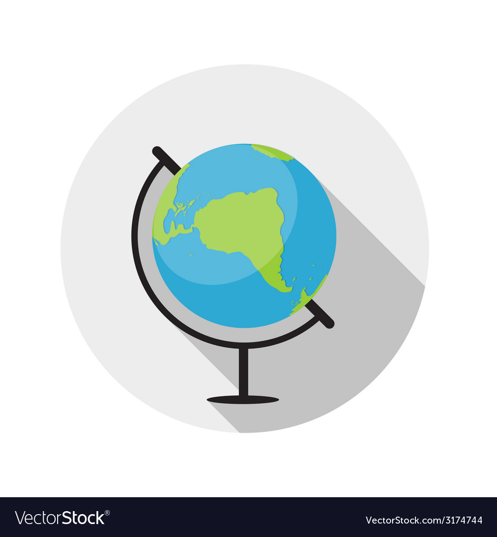 Flat design concept globe icon with long sha vector | Price: 1 Credit (USD $1)