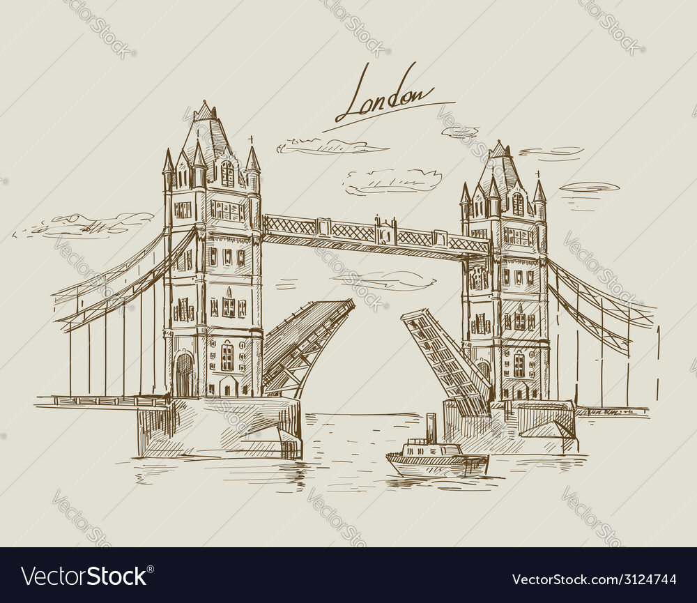 Hand drawn tower bridge vector | Price: 1 Credit (USD $1)