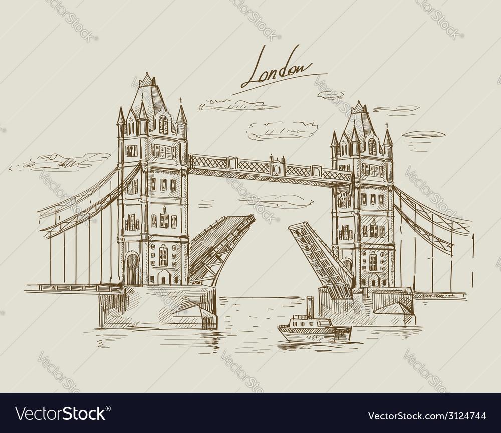 Hand drawn tower bridge vector   Price: 1 Credit (USD $1)