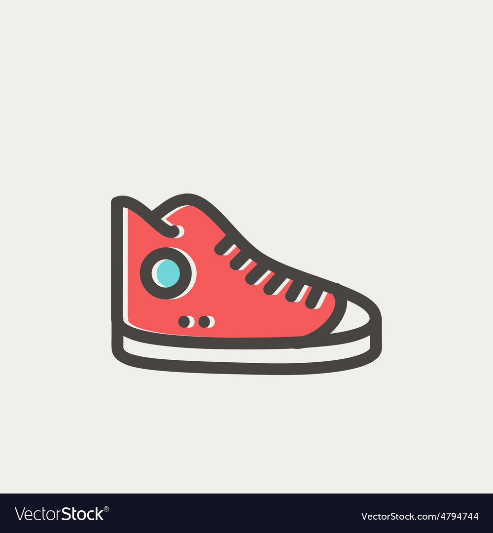 High cut rubber shoes thin line icon vector   Price: 1 Credit (USD $1)