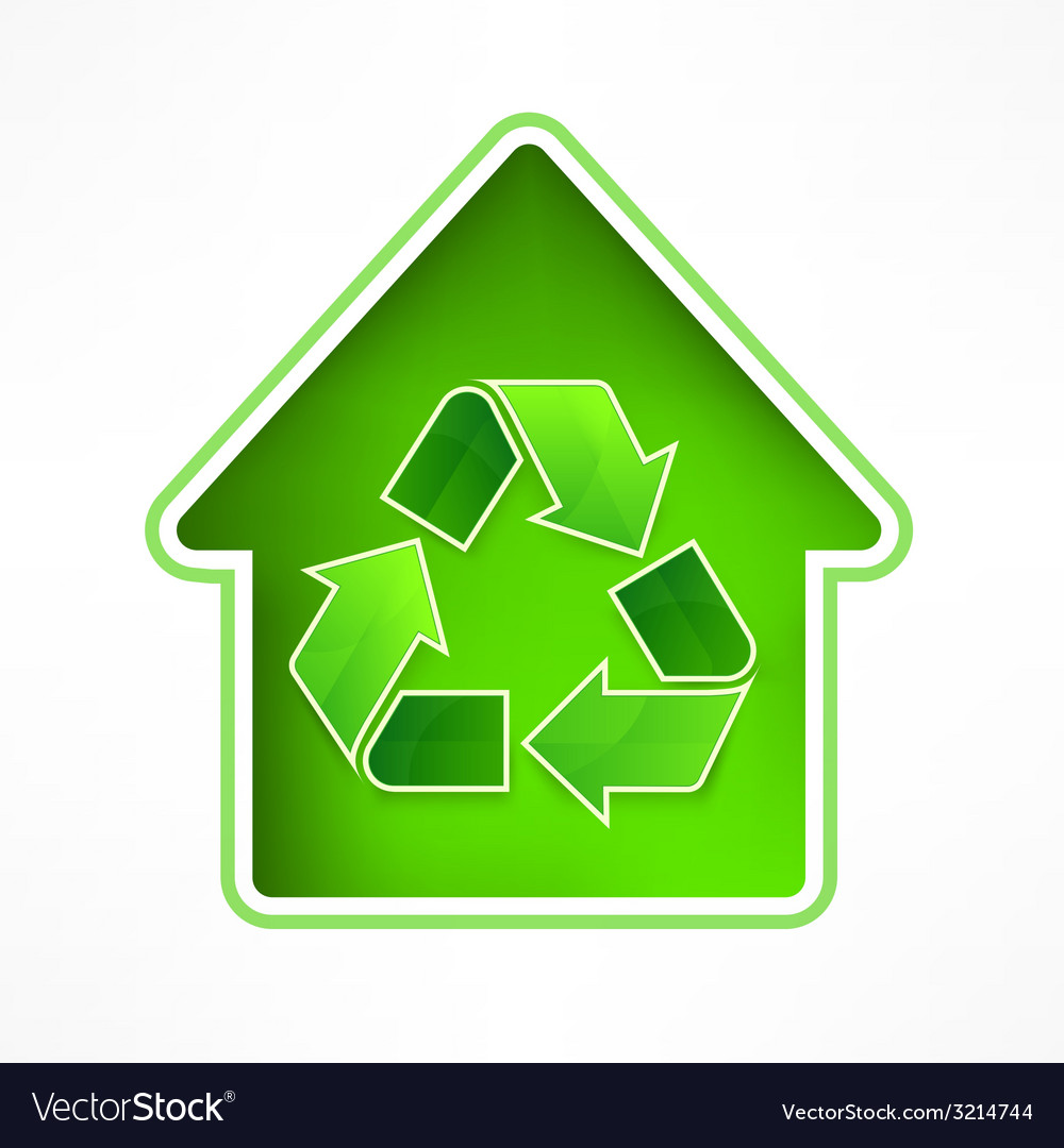 House with recycling symbol vector | Price: 1 Credit (USD $1)