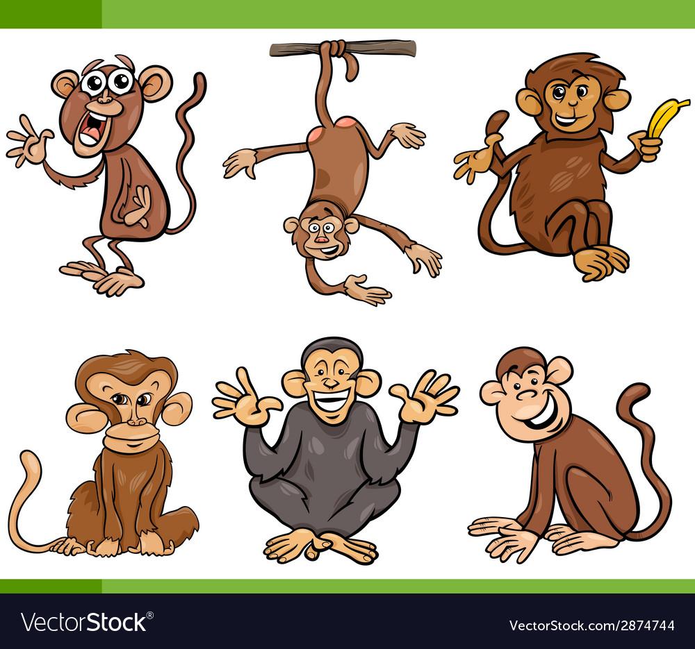 Monkeys cartoon set vector | Price: 1 Credit (USD $1)