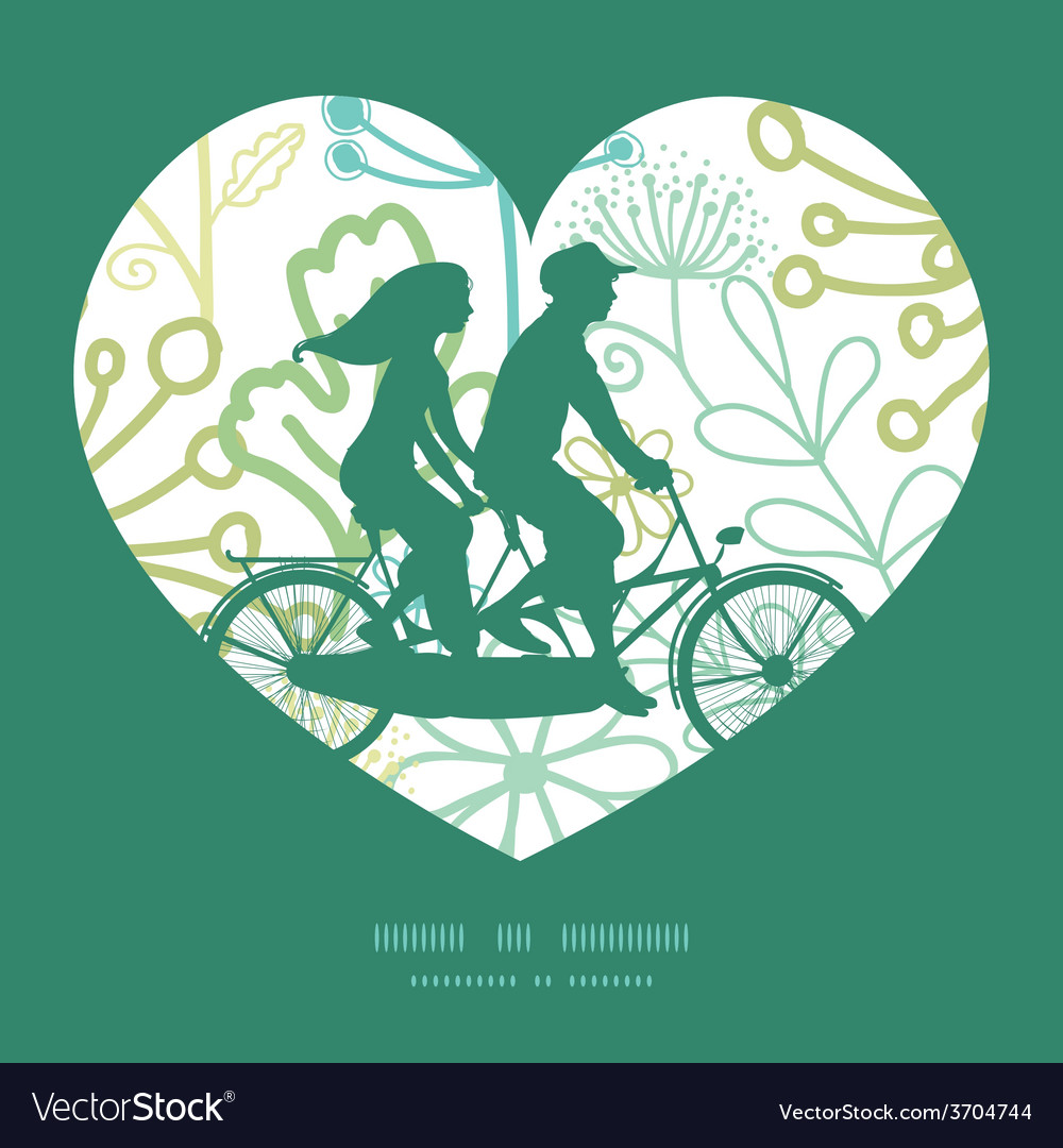 Mysterious green garden couple on tandem vector | Price: 1 Credit (USD $1)