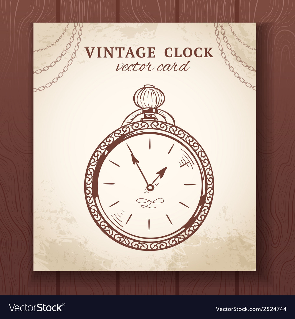 Old vintage pocket watch card vector | Price: 1 Credit (USD $1)
