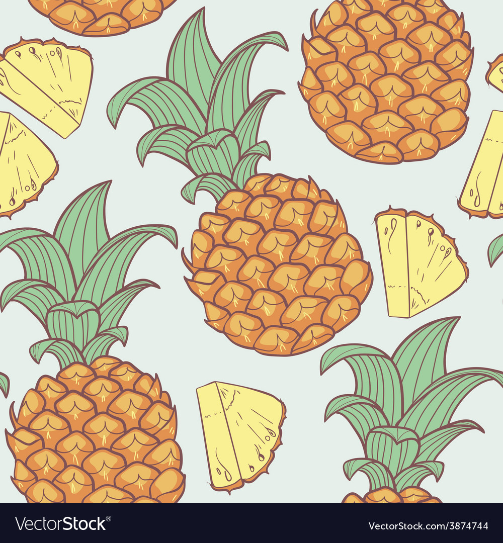 Pineapple with slice seamless pattern vector | Price: 1 Credit (USD $1)