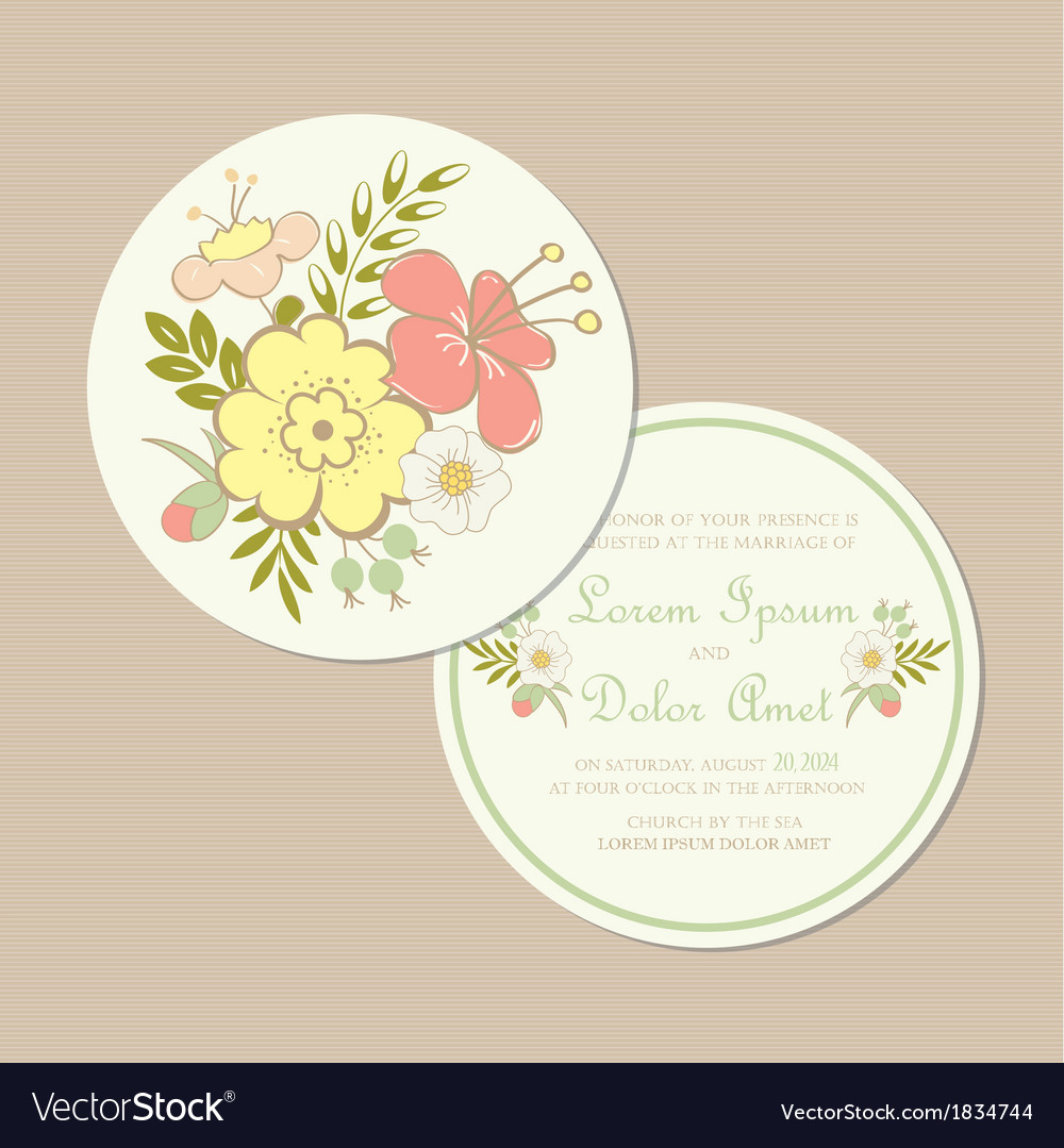 Round spring wedding invitation card vector | Price: 1 Credit (USD $1)