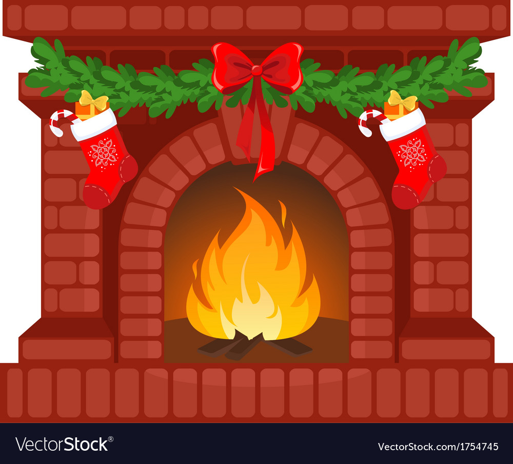 Christmas fireplace vector | Price: 1 Credit (USD $1)