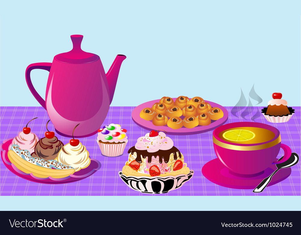 Cupcake tea party vector | Price: 1 Credit (USD $1)