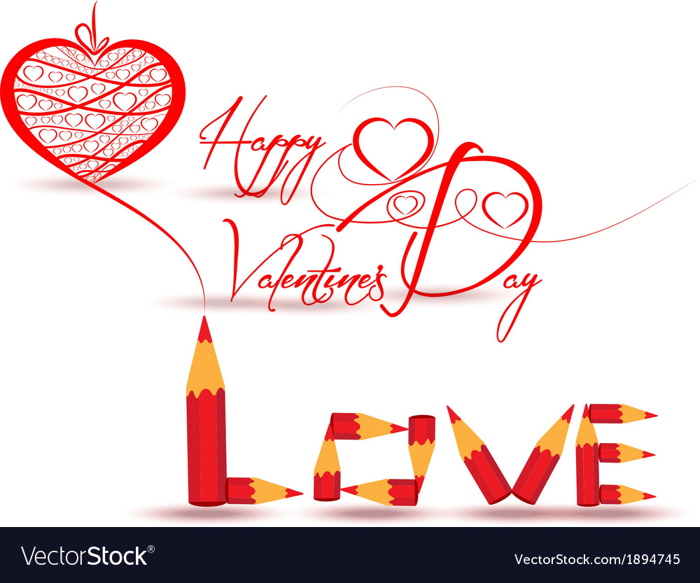 Drawing heart love you for valentines day vector | Price: 1 Credit (USD $1)
