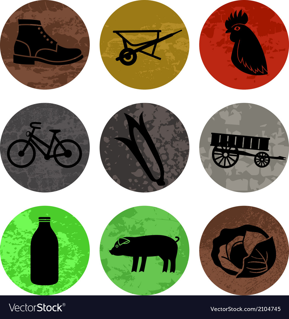 Farming and agriculture icons in color part 1 vector | Price: 1 Credit (USD $1)