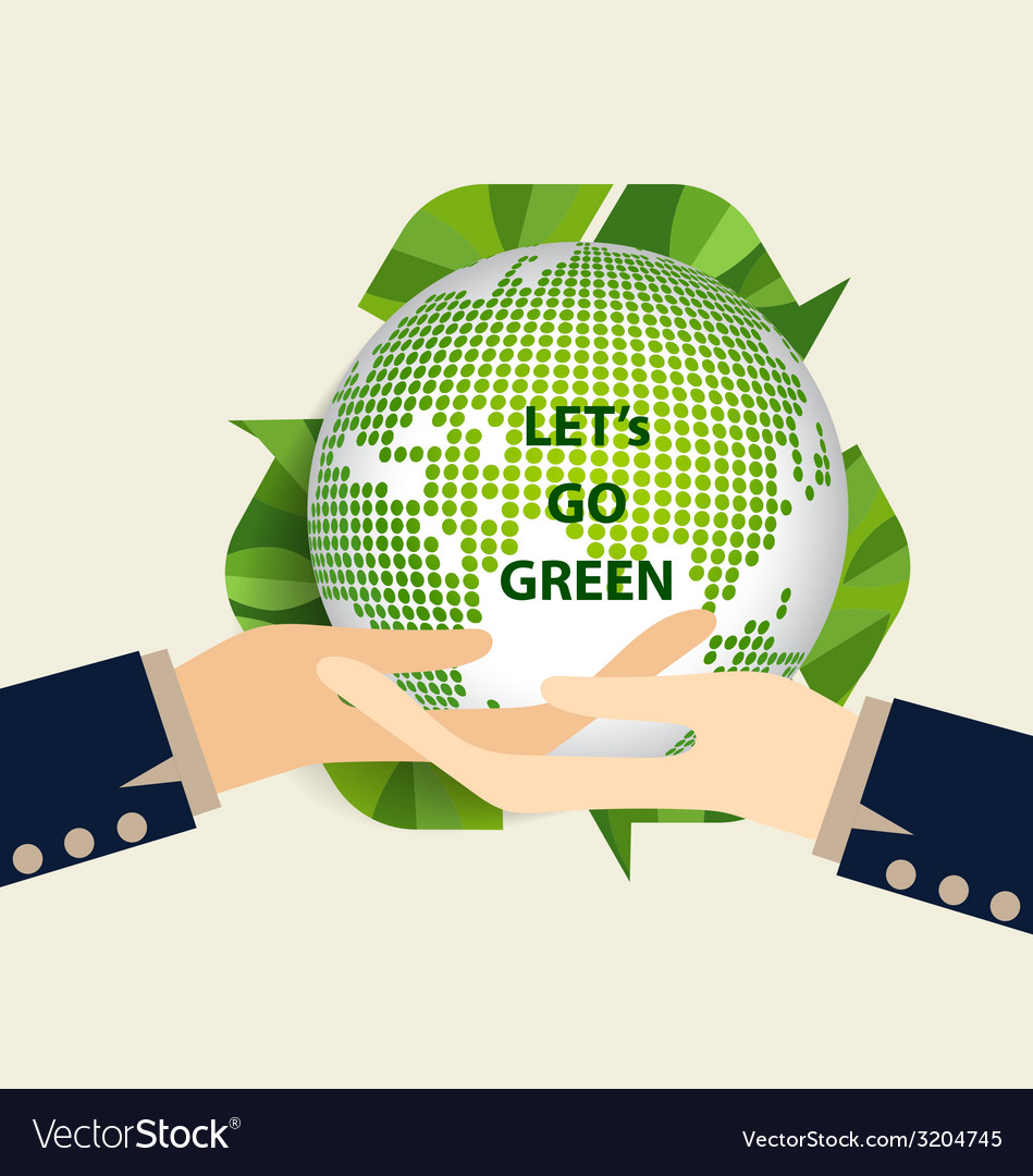 Green eco earth hand holding green earth vector | Price: 1 Credit (USD $1)