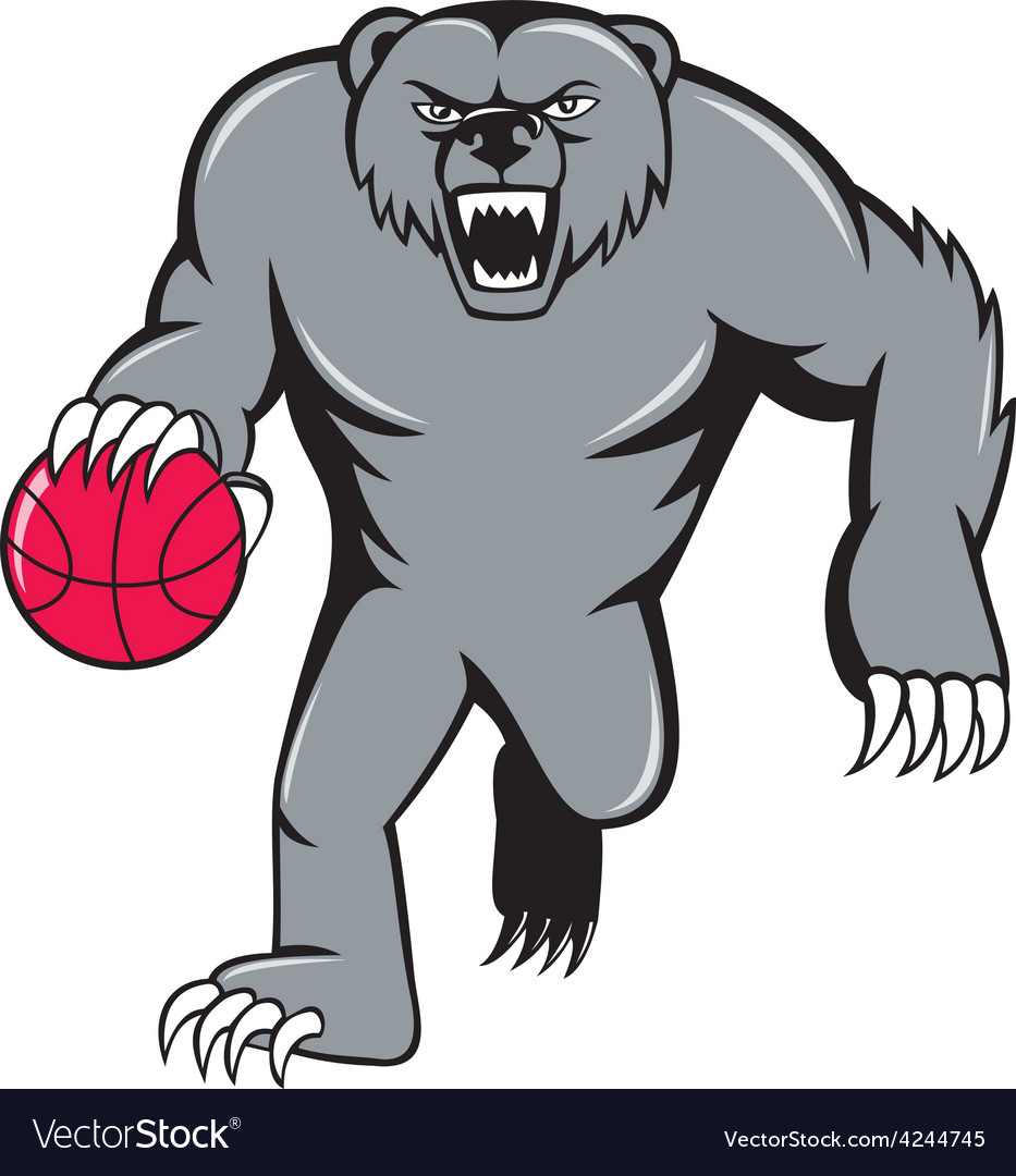 Grizzly bear angry dribbling basketball isolated vector | Price: 1 Credit (USD $1)