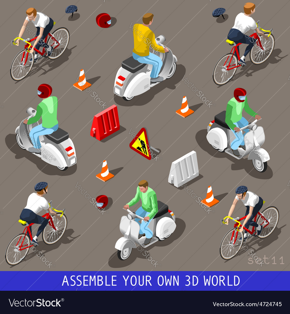 Isometric flat 3d vehicle scooter bicycle set vector | Price: 3 Credit (USD $3)