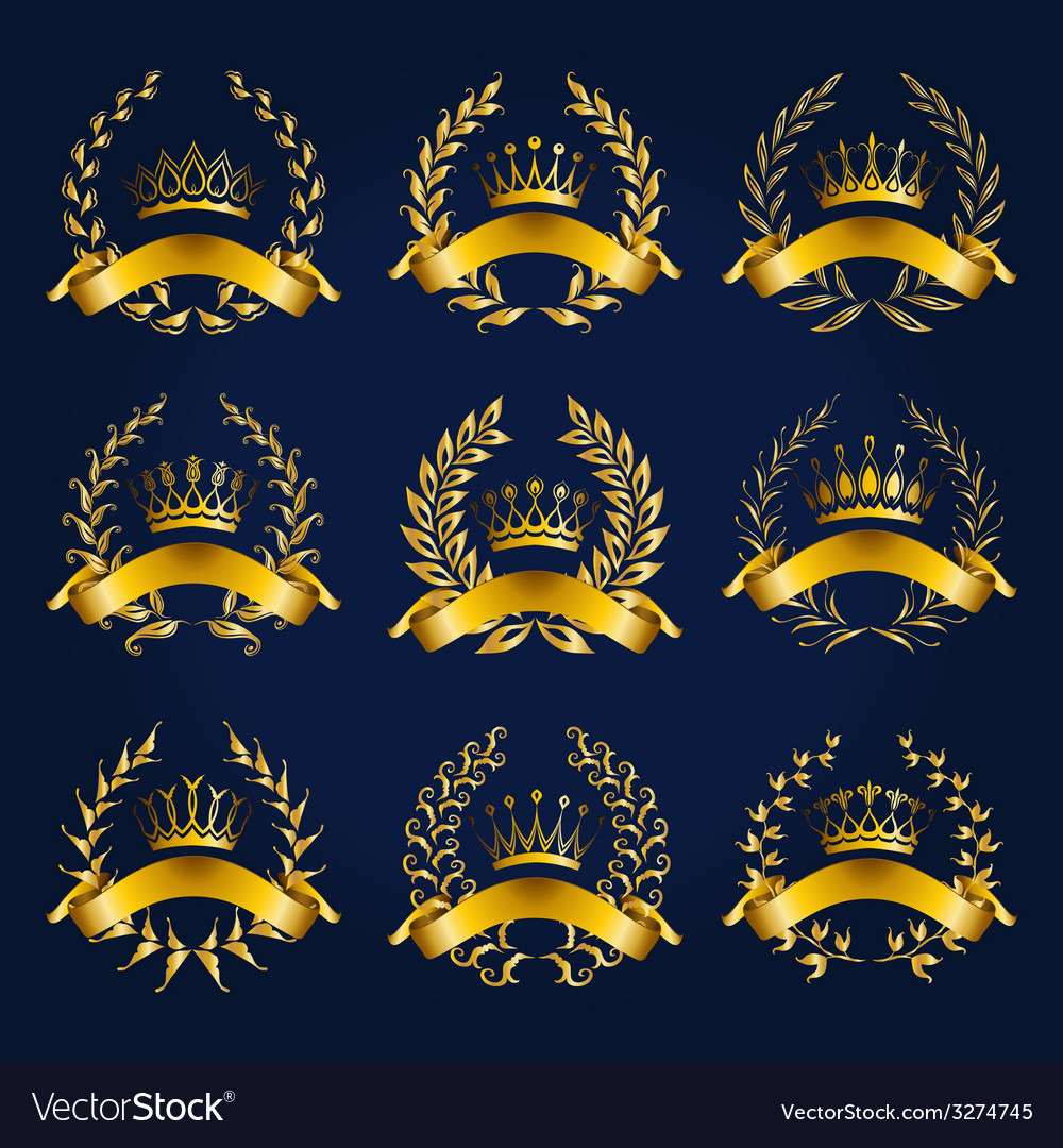 Luxury gold labels with laurel wreath vector | Price: 3 Credit (USD $3)