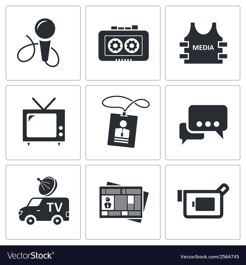 Media icon collection vector | Price: 1 Credit (USD $1)