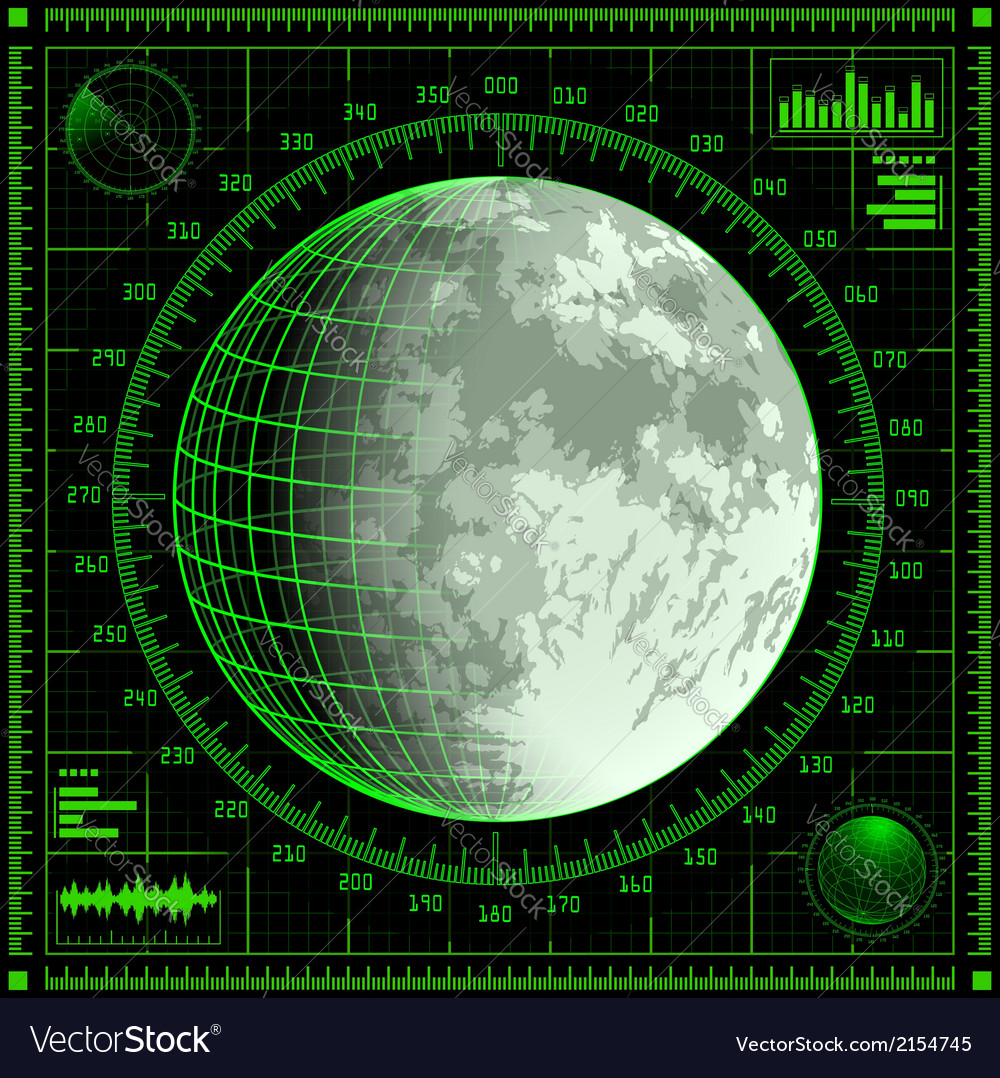 Radar screen with moon vector | Price: 1 Credit (USD $1)