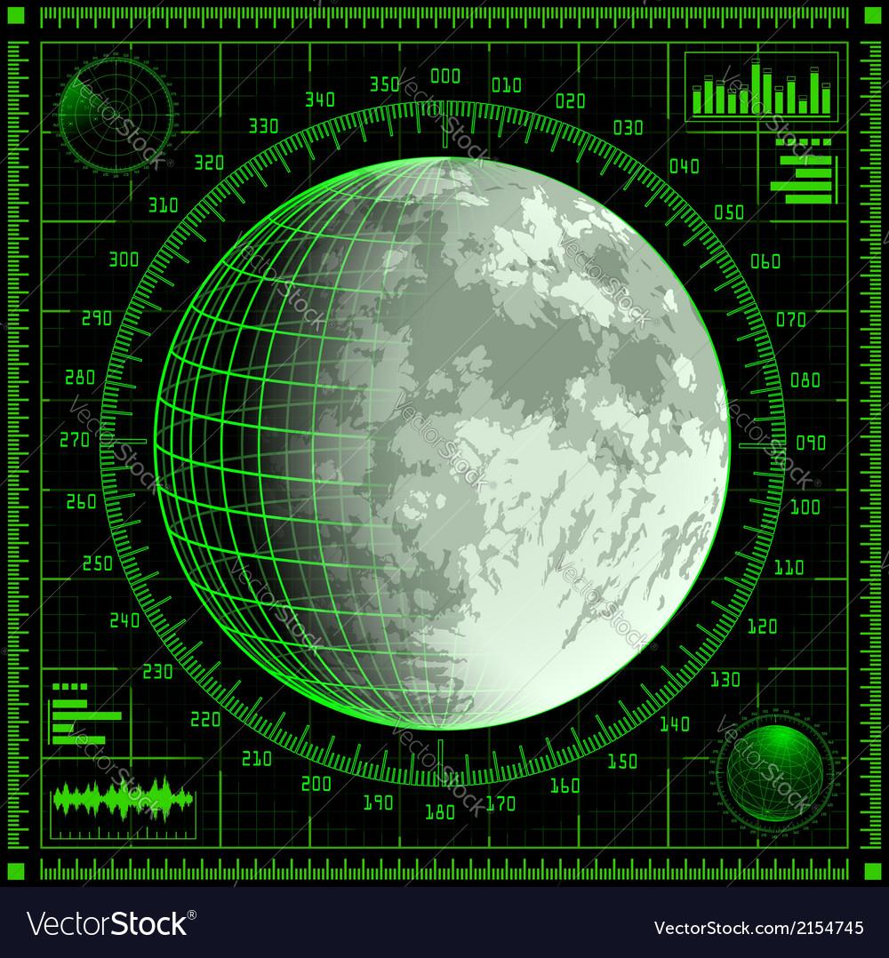 Radar screen with moon vector   Price: 1 Credit (USD $1)