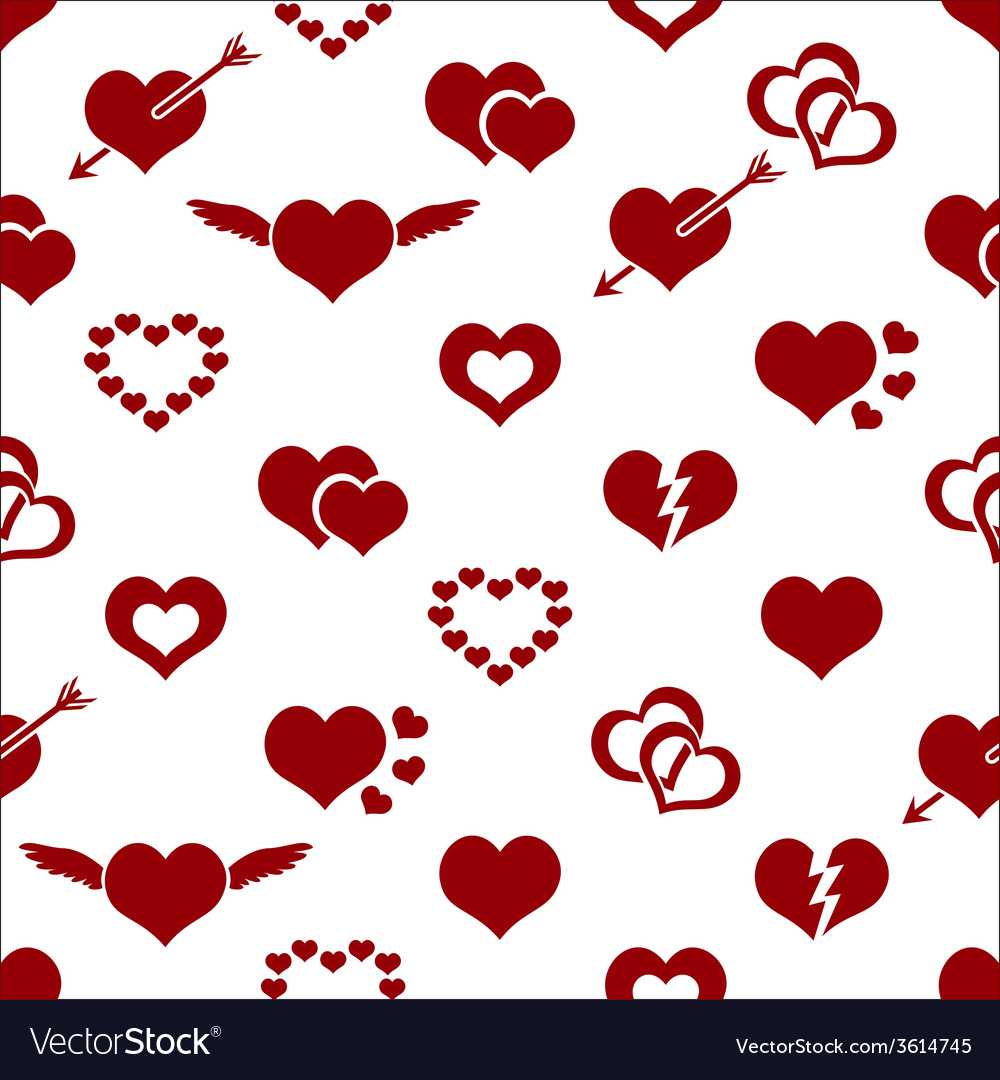 Set of red valentine hearth love symbols seamless vector | Price: 1 Credit (USD $1)