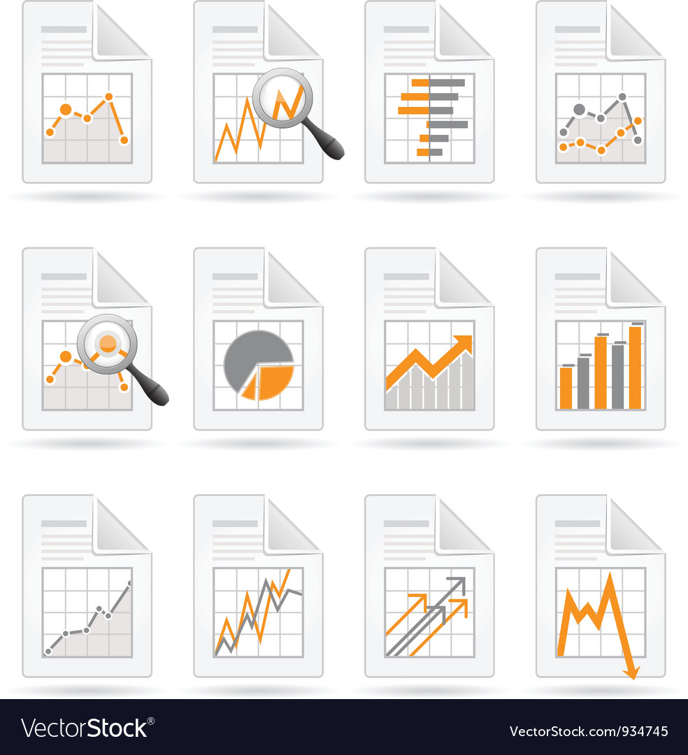Statistics and analytics file icons vector | Price: 1 Credit (USD $1)