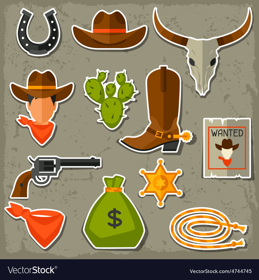 Wild west cowboy objects and stickers set vector | Price: 1 Credit (USD $1)
