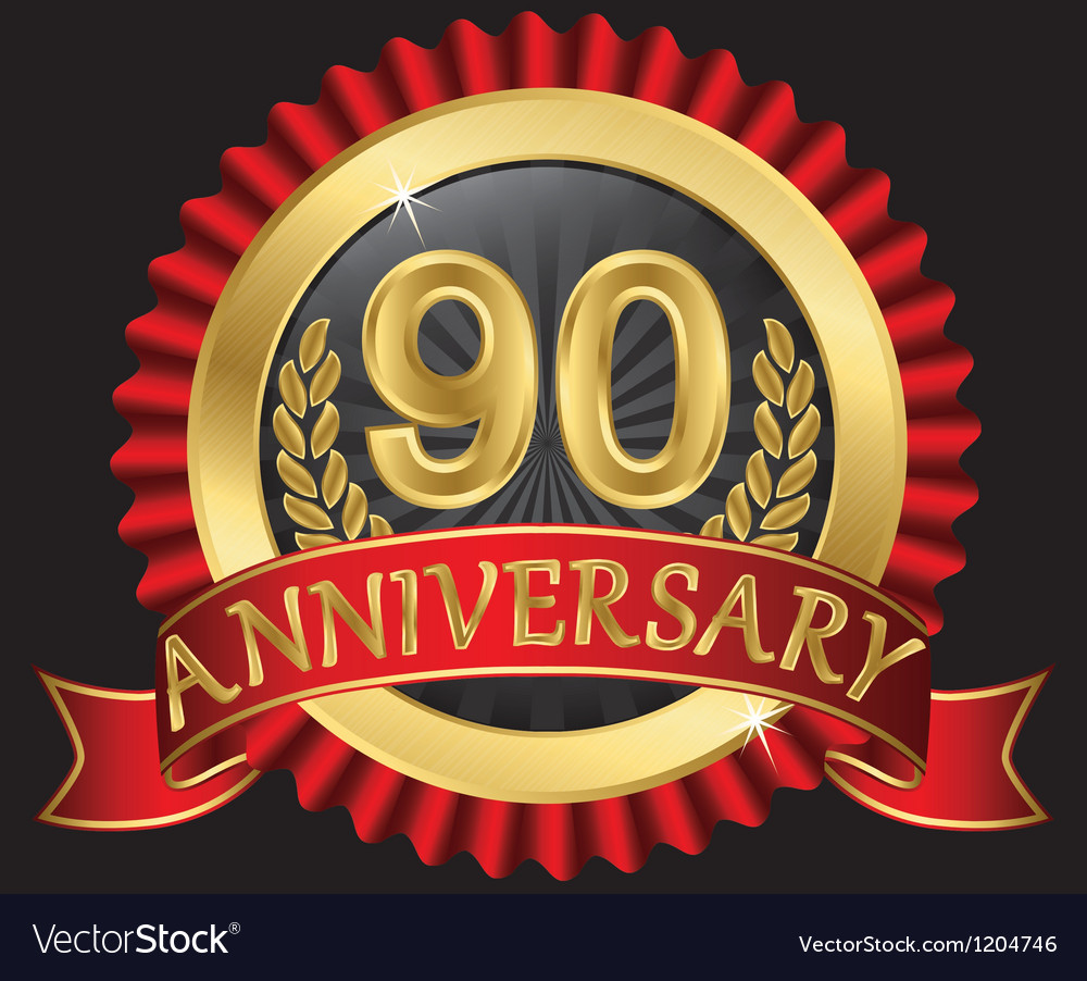 90 years anniversary golden label with ribbon vector | Price: 3 Credit (USD $3)