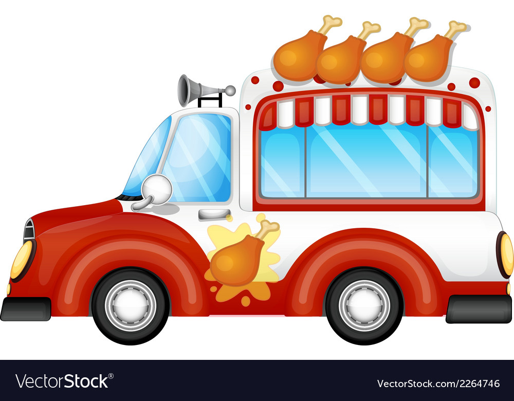 A vehicle selling fried chicken legs vector | Price: 1 Credit (USD $1)