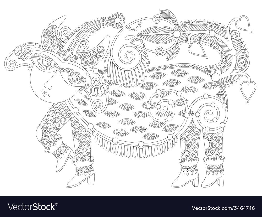 Black and white unusual fantastic creature vector | Price: 1 Credit (USD $1)