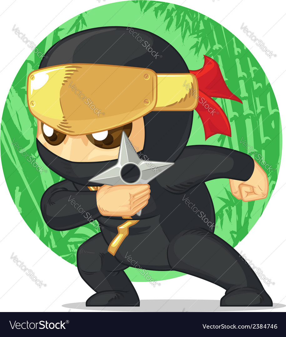 Cartoon of ninja holding shuriken vector | Price: 1 Credit (USD $1)