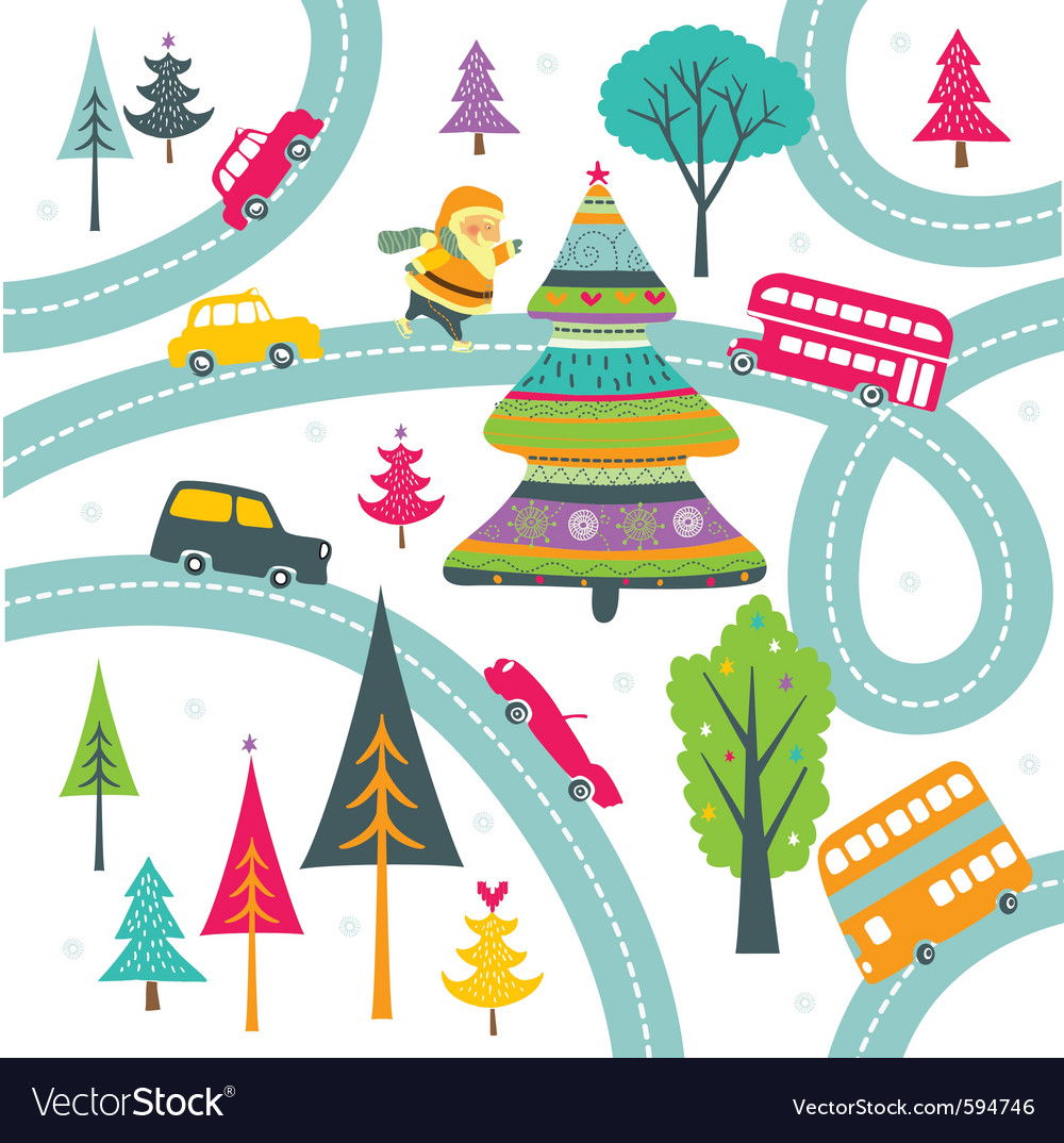 Christmas highway vector   Price: 1 Credit (USD $1)